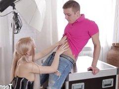 Sexy blonde teen anal orgasm cumshot