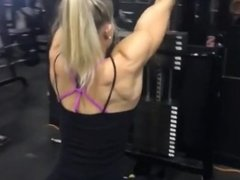 Famous bicep peak - Strong muscle girl Victoria D'Ariano