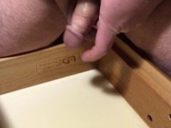 Piss in the night stand drawer and jerk off to cum