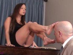 Girl makes her teacher lick her feet