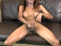 Big boobed tgirl sucks dick with dildo in her ass and jizzes