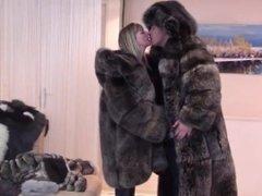 Older couple in Giant fur coats