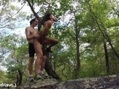 Naughty Girlfriend Gets Fucked And Cummed In The Woods