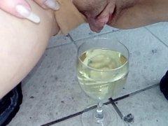 Outdoor: pee in goblet on balcony