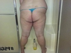 Fat ass shemale pisses in her thong