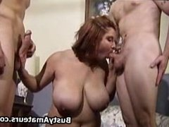 Busty Helena on hot threesome fucking