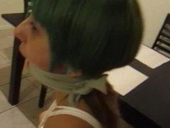 brunette in tight bondage