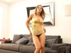 Sexy latina dancing in golden minidress can't hide her thong! voyeur enjoy!