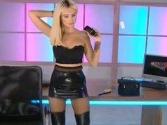 Sexy blonde MILF in leather dress & boots oops upskirt on tv! voyeurs enjoy