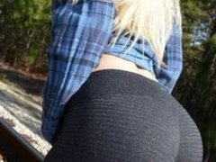 my hot girlfriend lets me fuck her and cum on her yoga pants OUTSIDE !