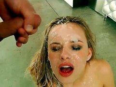 Dirty Blondes Loves Sperm Bukkake Facial Loads