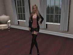 Une jolie blonde en mini jupe et collant noir et tee shirt saumon