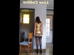 Hot redhead MILF shaking her ass in tight minidress stockings upskirt !