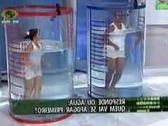 Latina model Elaine Pinheiro big ass bikini thong upskirt !