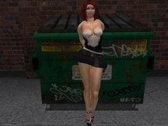 Un mec entrain de mater une jolie femme rouquine en mini jupe