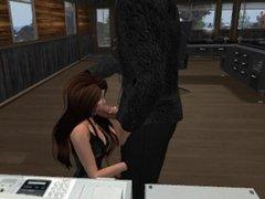 Un patron qui baise sa jolie secretaire en mini robe et bas collant