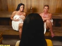 Threesome In The Steam Room!