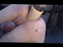 Large dildo makes str8 studs hungry juicy hole drip and gape on glass table