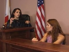 Girl gets spanked in the courtroom