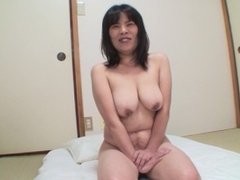 Japanese granny with nice saggy tits fucked and creampie