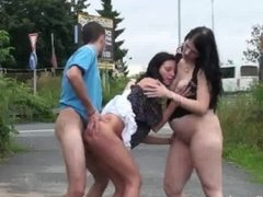 Outdoor threesome with pregnant baby
