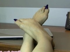 Sweet Coco flip-flop foot show (purple toes)