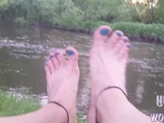 My barelegs and nude feet with nailed toes at the river exhib Sanny Legshow