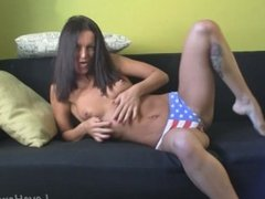 Amazing girl in pajamas gets completely naked