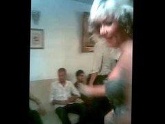 persian blonde dancing topless in party