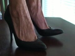 Mature Lilly's black high heel stilettos