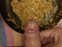 Cumming on my breakfast scrambled eggs with oatmeal