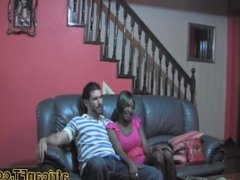 Hot ebony with big natural tits pounded by her white boyfriend