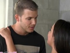 Dark haired teen Amara blows boyfriend big rod