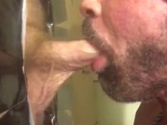 White Cock Cumshot Facial at Gloryhole in Philly