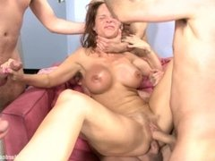 Sexy MILF Teacher Gangbanged By Her Students