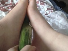 Playing with a Cucumber  BLOWJOB & FEET