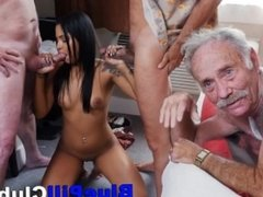 Latina Teen Slut Fucks Three Elderly Guys