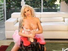 Blonde Milf Rides Dildo Rocker Till She Cums