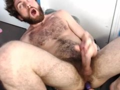 Hairy bro moaning and cumming with a toy in his butt