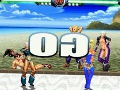 Queen of Fighters - Match 08 Elektra Vs. Angel (Nudist Beach)