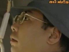 Teen Asian perform multiple handjob on the bus