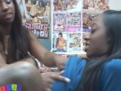 Two ebony sisters are getting fucked and receive cumshot