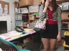 Redhead shoplifter Naomi Mae banged hard by a security guard in his office