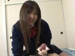School girl with gloves hand job