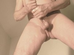 robin jerking his shaved oiled uncut monstercock 176