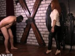 Torturing Slave's Cock and Balls with Heels!