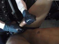 German Femdom Black Latex Gloves Strapon Handjob