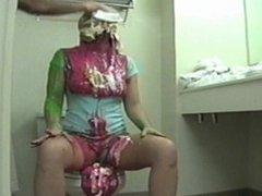 Girl slimed on toilet