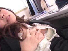Jaw dropping school threesome with Chinatsu Kurusu