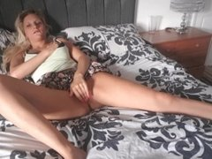 blonde girl interrupted before toys cum out